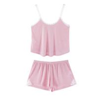 pijama rosa verano al por mayor-Moda Pink Camis Tank Tops encaje Patchwork Sexy Shorts Lencería Mujeres 2 unids Pijamas Conjuntos Primavera Verano suelto camisón femenino