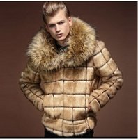 chaqueta de cuero marrón hombres venta al por mayor-GOPLUS Nuevos Hombres de Invierno Abrigo de Piel Sintética Piel Masculina Cuello de cuello Diseño A Cuadros Moda Hombres Abrigos Falso Cuello de Piel de Zorro Casaco Pele