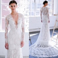 Wholesale classy white silver dress resale online - 2019 New Classy Lace Mermaid Wedding Dresses With Long Sleeves Plunging Neckline Trumpet Bridal Gowns Sweep Train Country Wedding Dress