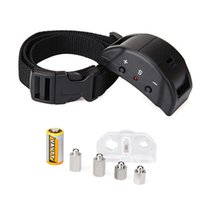 Wholesale shocking dog collars resale online - Dog Training Shock Collar Anti Bark Stop No Barking Collar Ultrasonic Black Color X355