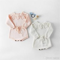 Wholesale baby red belt resale online - Spring INS Toddler Baby Girls Sweater Rompers Cotton Long Sleeve Lace Round Collar Front Belt Tie Jumpsuits Newborn Autumn Bodysuits T