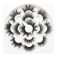 mistura de bandeja de cílios venda por atacado-7 pares 25mm 5D Grosso Vison Cílios Cílios Falsos Longo Maquiagem Mink Cílios Cílios Extensão Mista Cílios Falsos Bandeja De Flor