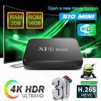 ingrosso quad core migliori smart box tv-La migliore vendita android 7.1 TV BOX S10 mini Amlogic S905W Quad core 2GB / 16GB Smart box 2.4GWIFI H.264 incorporato