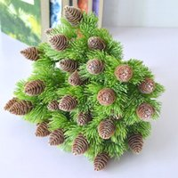 Wholesale artificial trees home decor for sale - Group buy artificial plastic pine branches Pine Nuts Cones Fake Plants Tree for Christmas Party Decoration Faux Grass Xmas home decor