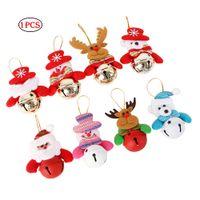 Wholesale bear christmas ornaments resale online - 1 Pc Christmas Bells Decoration Christmas Tree Ornaments Snowman Santa Claus Bear Elk Color Random As Shown