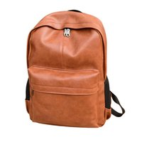 Wholesale fashion leather laptop backpack resale online - Designer Fashion Men s and women s retro leather college wind backpack Laptop Satchel Travel School Rucksack Bag for Teenage H3052