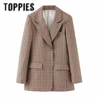 trajes de chaqueta de damas marrones al por mayor-Brown enrejado de la chaqueta del juego individual, mujeres Breated Oficina rompevientos COACT Señora de la chaqueta 2019 otoño ropa SH190917