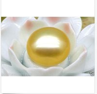 halbe perlen 12mm großhandel-12mm lose brotgelb südsee halb gebohrt perle diy anhänger ohrring