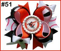 Wholesale football hair bows for sale - Group buy sport hair bow University Boutique Hair Bow football layered hair clip