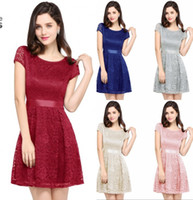 Wholesale printed formal prom dress resale online - Cheap A line Short Prom Dress Real Pictures Bow Formal Party Gown Short Sleeves Womne Vintage Retro Club Wear CPS627
