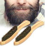 boar brush hair bristles toptan satış-Ahşap Sakal Fırçası Tarak Domuzu Kıl erkek Bıyık Tıraş Tarak Yüz Masaj Yüz Saç Temizleme Fırçası için uzun kolu R0492