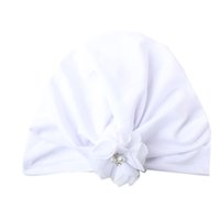 Wholesale baby beanies cotton solid resale online - 2019 Brand New Newborn Baby Kids Boys Girls Soft Turban Cap Beanie Lovely Pearl Flower Soft Hats Solid Cotton Beanis Baby Gifts