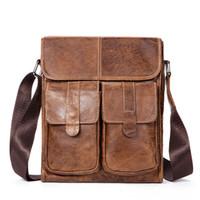 ingrosso borse viaggio cuoio genuino di lusso-Borsa a tracolla in vera pelle di marca Borsa a tracolla in pelle di moda da uomo