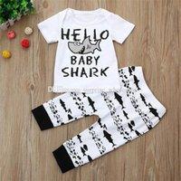 ensembles de cadeaux pour nouveau-nés pour les garçons achat en gros de-2 PCS Nouveau-Né Bébé Garçons Fille T-shirt Tops + Pantalons Ensembles Vêtements D'été À Manches Courtes Lettre Shark Casual Vêtements Tenues Cadeaux # 30
