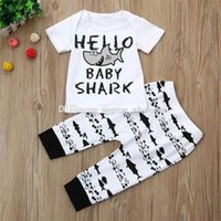 ba044982520ed 2PCS Newborn Baby Boys Girl T-shirt Tops+ Pants Sets Clothes Summer Short  Sleeve Letter Shark Casual Clothes Outfits Gifts  30