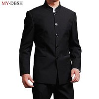 casaco casamento chinês homens venda por atacado-MYDBSH Marca Men Suits altos chinês qualidade stand Collar Male Suit Slim Fit Blazer casamento Terno smoking 2 peça (jaqueta e