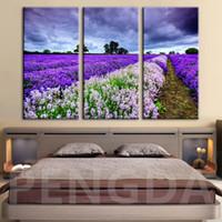 panel morado de pintura al por mayor-HD Print Painting Modular Home Decoration Pictures 5 Panel Purple Flower Sea Landscape Poster Wall Art Modern Living Room Canvas