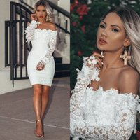 Wholesale short prom dress patterns sleeves for sale - Group buy 2020 Off the Shoulder Long Sleeve White Cocktail Dresses Knee Length Short Prom Dresses Party Gowns