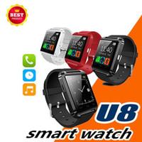 assistir oxímetro venda por atacado-Bluetooth u8 smart watch relógio de pulso à prova d 'água esportes inteligentes assistir pressão arterial oxímetro de freqüência cardíaca para iphone samsung android