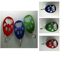 Wholesale key shaped wine opener resale online - Bear Paw Bottle Opener paw Shaped Key Chain Aluminium Alloy Beer Openers Portable creative party favor supplies FFA2855