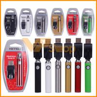 ingrosso filo di filo-Batteria a preriscaldo Metrix Batteria 650mAh Preriscaldamento batterie a tensione variabile Caricatore VV USB Kit penna Vape per cartuccia a 510 fili con LOGO