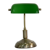 lámpara antigua de cristal al por mayor-Lámpara de banquero tradicional de vidrio verde Lámpara de escritorio Luminaria Acabado de latón antiguo Base de lámpara de metal Acentos para el hogar