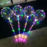 fãs de papel amarelo venda por atacado-New LED Luzes Balões de Iluminação Noturna Bobo Bola Decoração Multicolor Balão de Casamento Decorativo Brilhante Mais Leve Balões Com Vara