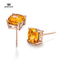 14k pendientes de oro precio al por mayor-LSZB puro de 14K de oro rosa de los diamantes naturales citrino elegante Pendientes de precio asequible de diamante pendiente 750Solid Oro Un Par