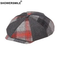 Wholesale red wool beret hat resale online - SHOWERSMILE Red Plaid Patchwork Newsboy Cap Wool Winter Hats for Women Men Octagonal Cap Tweed British Style Flat Beret
