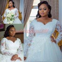 nigerianische ballkleider großhandel-Charming Plus Größe Spitze Langarm Brautkleider Sheer Nigerian Pailletten Afrikanischen vestido de noiva Arabisch Brautkleid Ball Land Braut