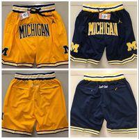 ingrosso linea gialla-JUST DON Pantaloncini Hip Hop Motion Wind Michigan Shorts Stripe Rete Fodera Split Joint Sport Pants Uomo Giallo Pantaloni da basket
