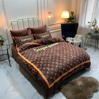 ropa de cama de impresión marrón al por mayor-Fashion Logo Striep Designer Bedding Cover Sets Nuevo Brown Flower Print Bed Sheet Funda de almohada Funda de edredón 4PCS Suit