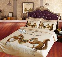 коричневый одеяло наборы королева оптовых-Белка постельных Королева Сердце пододеяльник Полный Коричневый Покрывало Sham NO Утешитель NO Одеяло 3шт романтизма King Bed Set