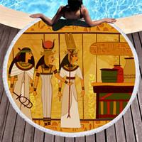 Wholesale hand oil painting beach for sale - Group buy 2019 New Retro Oil Art Painting Series Round Beach Towel Large Microfiber Yoga Blanket Mat Bikini Outdoors Sports Swimming Bath Towel