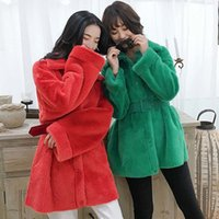 corea de piel sintética al por mayor-Escudo de Corea ropa Mantener caliente flojo chaqueta Mediados largo piel de las mujeres Outwear Top 3 Color DT191104 FIRSTTO invierno de la solapa de lana de cordero lanudo Faux Fur
