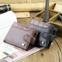 Wholesale best credit card wallet resale online - Best Selling Mens Leather Bifold Clutch Wallet ID Slots Coin Purse Buckle