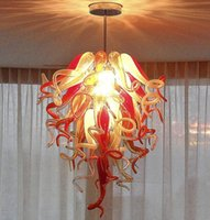 Wholesale red amber pendant for sale - Group buy China Supplier Hand Blown Glass Chandeliers Lights Italian Retro Ceiling Lights Red Amber Lampshade Blown Glass Chandeliers Pendant Lights