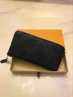 zip uzun cüzdan toptan satış-Toptan Uzun Zip Cüzdan Kadınlar Klasik Ekose Uzun Fermuar Cep Tasarımcı Erkekler Para Çanta Kart Sahibi
