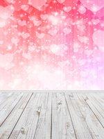 amor da fotografia venda por atacado-Bokeh de brilho dos corações do amor Vinil Fotografia Backdrops de madeira Fundos Piso Photo Booth para Dia dos Namorados Estúdio Props