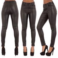 frauen skinny leder jeans großhandel-New DAMEN HOHE TAILLE IN GROSSEN LEDERLOOK JEANS Skinny FitTrousers