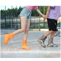 ingrosso flip flop-Copriscarpe portatili per giorno di pioggia all'aperto Stivali da pioggia Materiale in PVC elastico Copriscarpe pieghevoli portatili morbide portatili