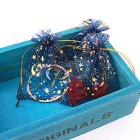 organza yıldızları toptan satış-100 adet 9X12 cm Lacivert Takı Çantası Düğün Hediyesi Yıldız Ay Organze çanta Çekilebilir Takı Ambalaj Ekran takı Torbalar Çanta