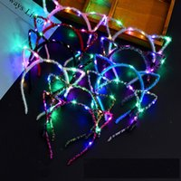 led cat party lights 2021 - Led Cat Ear Headband Light Up Party Glowing Supplies Women Girl Flashing Hair Band Football Fan Concet Cheer Halloween Xmas Gifts XD20056