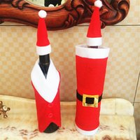 Wholesale santa claus clothes resale online - Santa Claus Clothing Wine Cover Christmas Wine Bottle Decor Christmas Candy Gift Bags New Year Xmas Bottle Deocrations