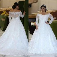 Wholesale large natural crystal for sale - Group buy Plus Size Wedding Dresses sweetheart Long Sleeves Off Shoulder Top Quality A Line Shiny Crystal Beads Lace Large Size Bridal Gowns TG4998