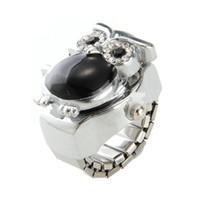coruja relógios venda por atacado-25x20mm coruja anel relógio dedo relógio dedo relógio relógio anel de metal strass preto top