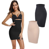 kadın elbisesi gövdesi toptan satış-Altında Elbiseler için yarım Fişleri Womens Karın Kontrol Elbise Dikişsiz Kayma Zayıflama Shapewear Sıkıştırma Bel Eğitmen Vücut Şekillendirici