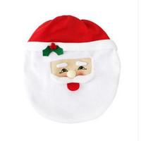 asiento de baño al por mayor-Santa Cubierta del asiento del inodoro Alfombra Moda Hot Happy Santa Cubierta del asiento del inodoro Alfombra Juego de baño Decoraciones navideñas EEA395
