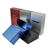 cigarro de 5 cores venda por atacado-Magnético Flip Alumínio Cigarette Box 20 pcs Cigarros Caixa de Tabaco Titular para Homens 5 cores Frete Grátis WB356