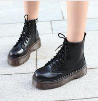 chaussures oxford talons hauts achat en gros de-Femmes Moto Bottines Compensées Femme À Lacets Plateformes Automne Hiver Cuir Oxford Chaussures Femme talons hauts